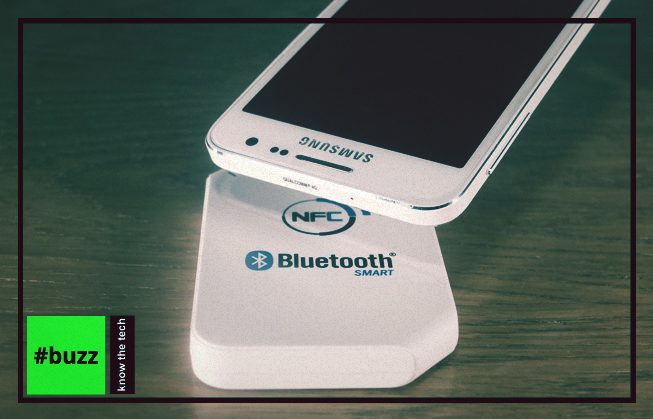 Smartphone hovers over bluetooth reader