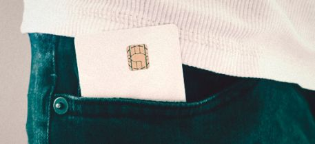 contact smart card sticking out of a pocket
